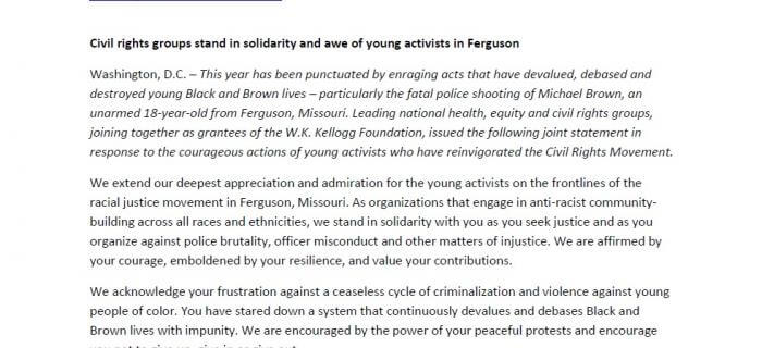 W.K. Kellogg Foundation Racial Equity Anchor's Statement on Ferguson