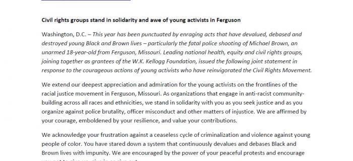 W.K. Kellogg Foundation Racial Equity Anchor's Statement on Ferguson
