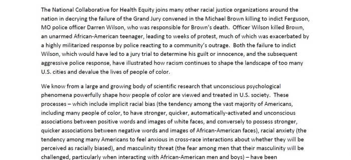 Statement from the National Collaborative for Health Equity on the Grand Jury Decision Regarding the Death of Michael Brown