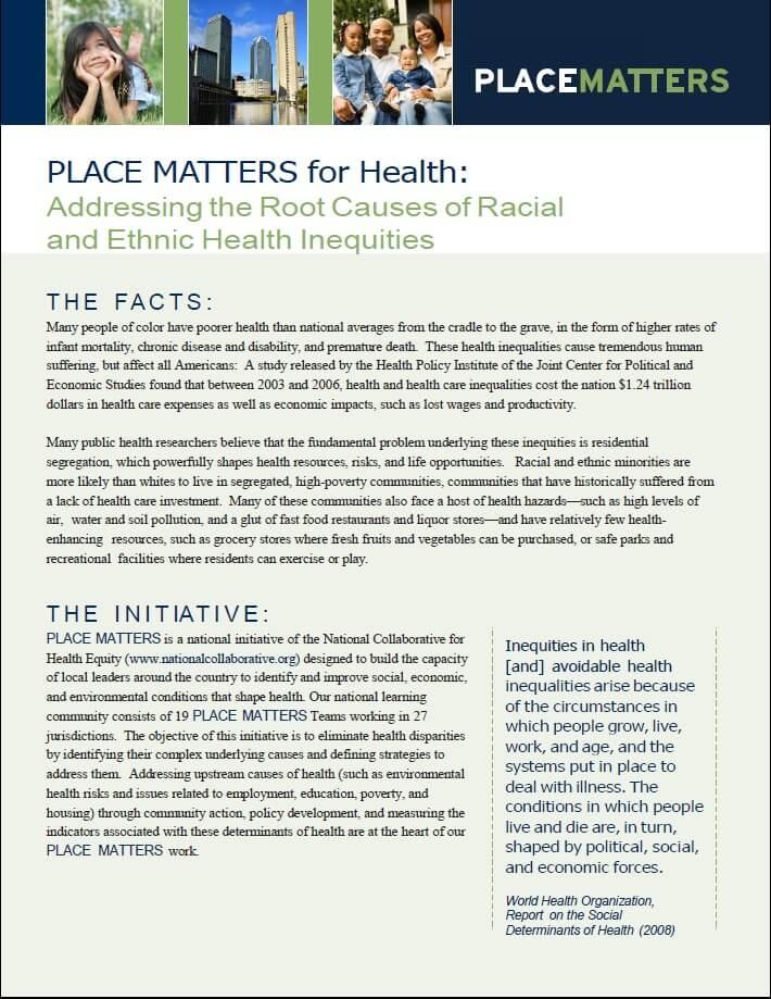 PLACE MATTERS Fact Sheet