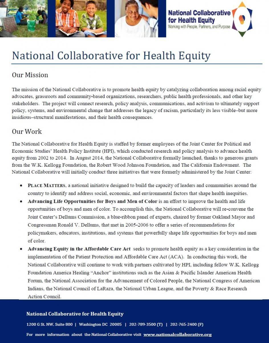 National Collaborative Fact Sheet