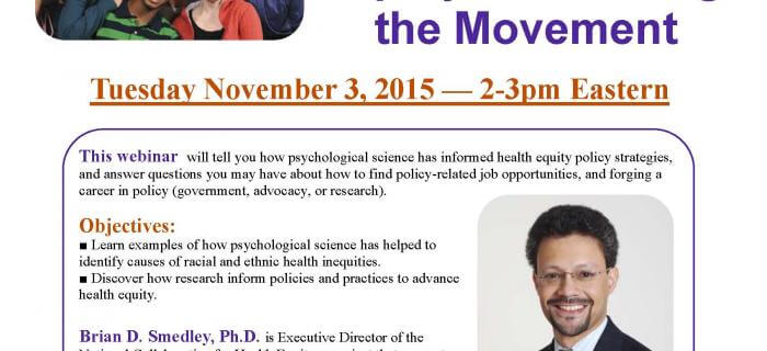 Psychological Science and Health Equity: Advancing the Movement Webinar