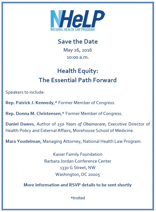 NHeLP Save the Date – Health Equity: The Essential Path Forward
