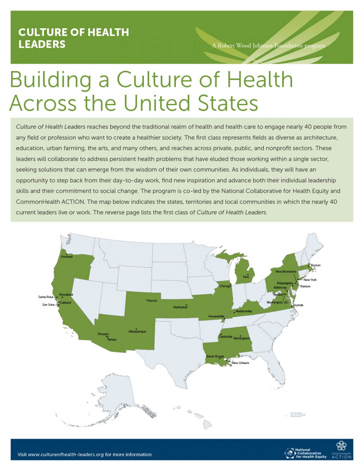 New RWJF Leadership Program Launches: Nearly 40 Social Innovators From Across Sectors Selected to Build Culture of Health